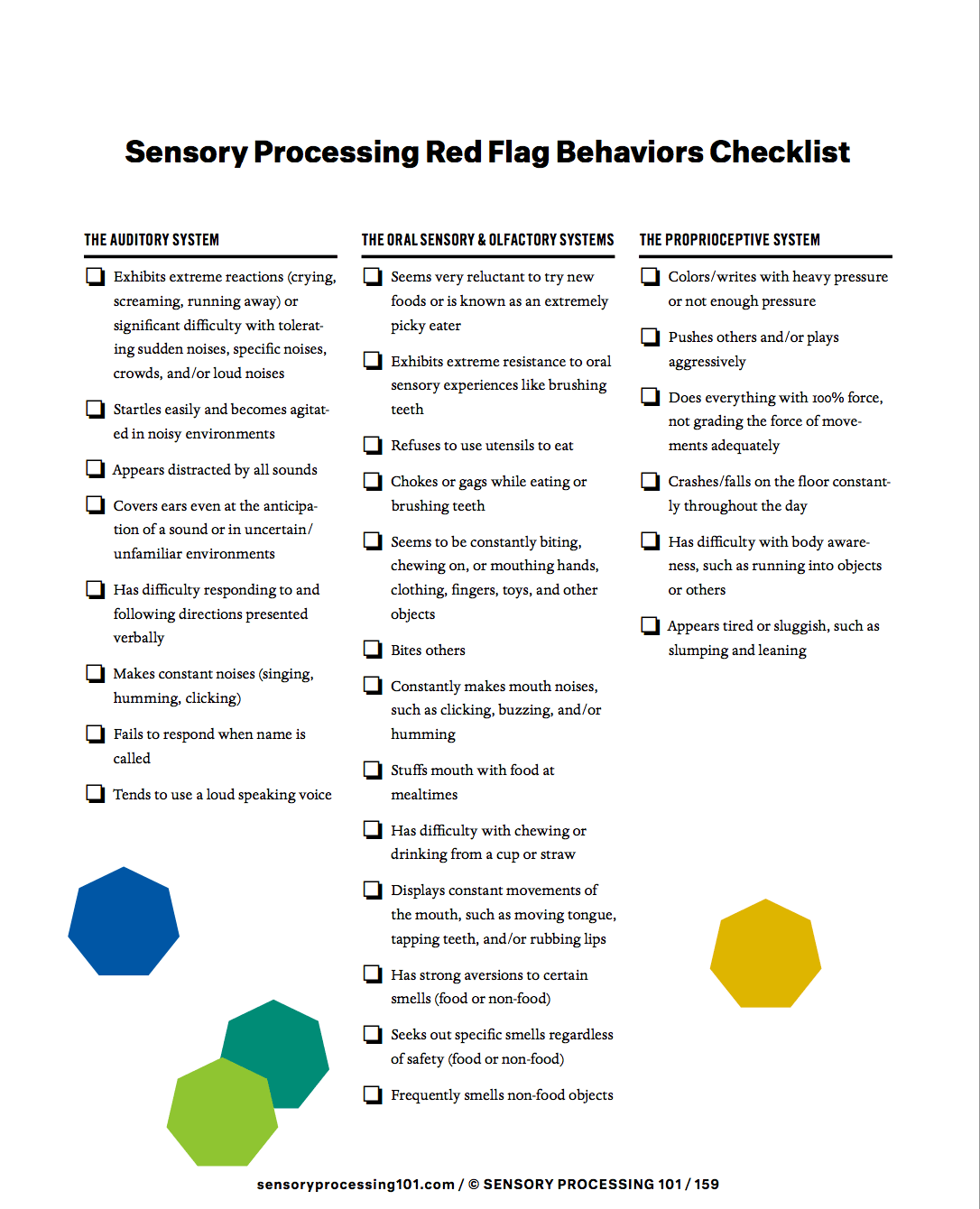 Sensory processing Red Flags Checklist