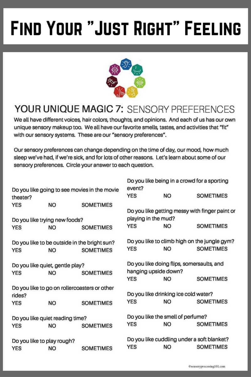 Find your sensory preferences worksheet for kids